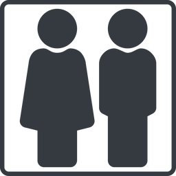 couple-solid thin, line, square, horizontal, mirror, man, woman, male, female, couple, toilets, bathroom, lady, gentlemam, parent, parents, couple-solid free icon 256x256 256x256px