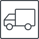 truck-thin thin, line, solid, square, horizontal, mirror, truck, delivery, van, lorry, truck-thin free icon 128x128 128x128px
