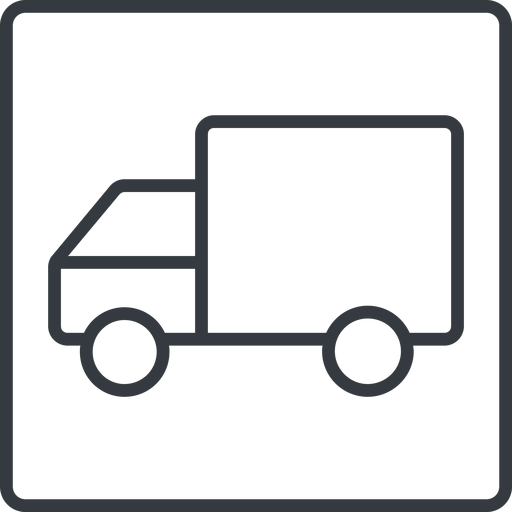 truck-thin thin, line, solid, square, horizontal, mirror, truck, delivery, van, lorry, truck-thin free icon 512x512 512x512px