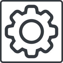 setting-thin thin, line, square, setting, config, gear, wheel, settings, cog, setting-thin free icon 256x256 256x256px