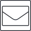 envelope-thin thin, line, square, envelope, mail, message, email, envelope-thin, contact free icon 128x128 128x128px