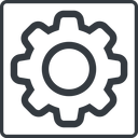 setting-thin thin, line, square, setting, config, gear, wheel, settings, cog, setting-thin free icon 128x128 128x128px