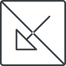 arrow-corner-thin thin, line, down, square, arrow, prohibited, corner, arrow-corner-thin free icon 256x256 256x256px