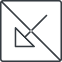 arrow-corner-thin thin, line, down, square, arrow, prohibited, corner, arrow-corner-thin free icon 128x128 128x128px