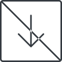 arrow-simple-thin thin, line, down, square, arrow, direction, prohibited, arrow-simple-thin free icon 128x128 128x128px