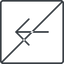arrow-simple-thin thin, line, left, square, arrow, direction, prohibited, arrow-simple-thin free icon 64x64 64x64px