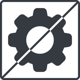 setting-solid thin, line, square, horizontal, mirror, setting, config, gear, wheel, settings, cog, prohibited, setting-solid free icon 256x256 256x256px