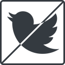 twitter thin, line, up, square, logo, brand, horizontal, mirror, social, prohibited, twitter, bird, twit free icon 128x128 128x128px