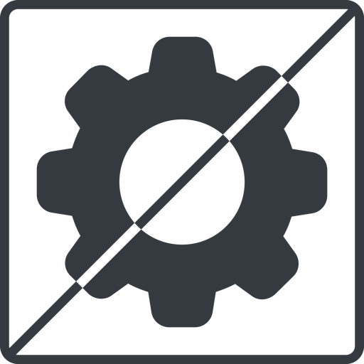 setting-solid thin, line, square, horizontal, mirror, setting, config, gear, wheel, settings, cog, prohibited, setting-solid free icon 512x512 512x512px