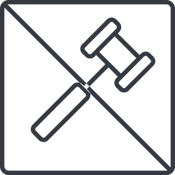 gavel-thin thin, line, square, prohibited, gavel, law, auction, hammer, judge, gavel-thin free icon 256x256 256x256px