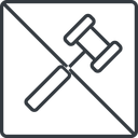 gavel-thin thin, line, square, prohibited, gavel, law, auction, hammer, judge, gavel-thin free icon 128x128 128x128px