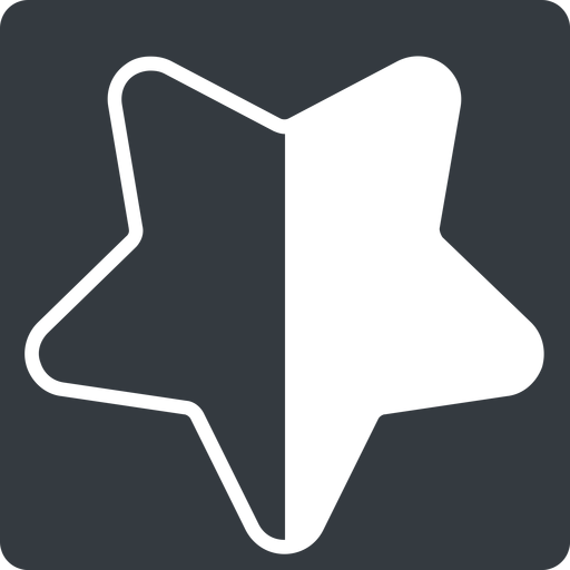 star-half-thin thin, down, solid, square, star, rate, rating, half, star-half-thin free icon 512x512 512x512px