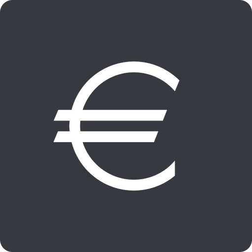 euro-symbol thin, solid, square, euro, symbol, money, donate, donation, euro-symbol, europe, coin free icon 512x512 512x512px