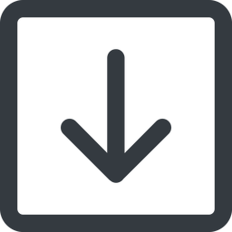 arrow-simple-wide line, down, square, arrow, direction, arrow-simple-wide free icon 256x256 256x256px