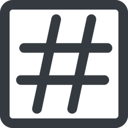 hashtag-wide line, wide, square, social, hashtag, hashtag-wide free icon 256x256 256x256px