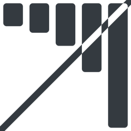 bar-chart-solid line, down, normal, horizontal, mirror, graph, chart, prohibited, statistics, antenna, mobile, signal, bars, level, strength, bar, bar-chart-solid free icon 256x256 256x256px