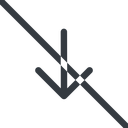 arrow-simple line, down, arrow, direction, prohibited, arrow-simple free icon 128x128 128x128px