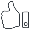 thumb-thin line, up, rate, rating, thumb, like, dislike, thumbs, thump-up, thumb-down, thumb-thin, hand free icon 128x128 128x128px