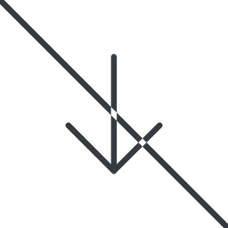 arrow-simple-thin thin, line, down, arrow, direction, prohibited, arrow-simple-thin free icon 256x256 256x256px