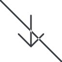 arrow-simple-thin thin, line, down, arrow, direction, prohibited, arrow-simple-thin free icon 128x128 128x128px
