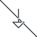 arrow-thin thin, line, down, arrow, prohibited, arrow-thin free icon 128x128 128x128px