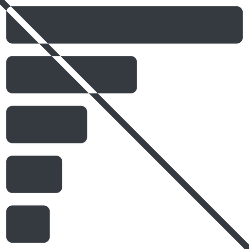 bar-chart-solid thin, line, left, horizontal, mirror, graph, chart, prohibited, statistics, antenna, mobile, signal, bars, level, strength, bar, bar-chart-solid free icon 512x512 512x512px